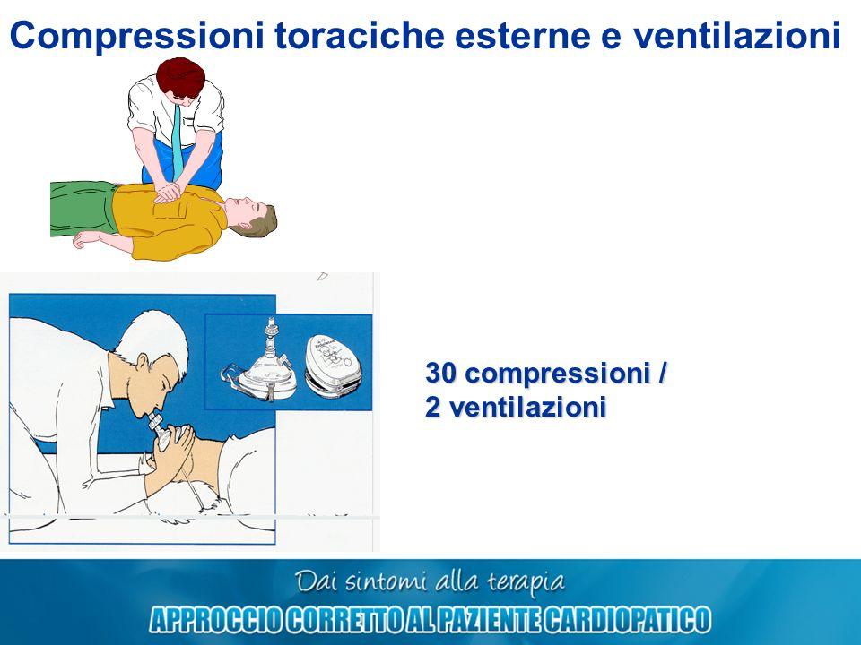 Compressioni toraciche esterne e ventilazioni 30 compressioni / 2 ventilazioni