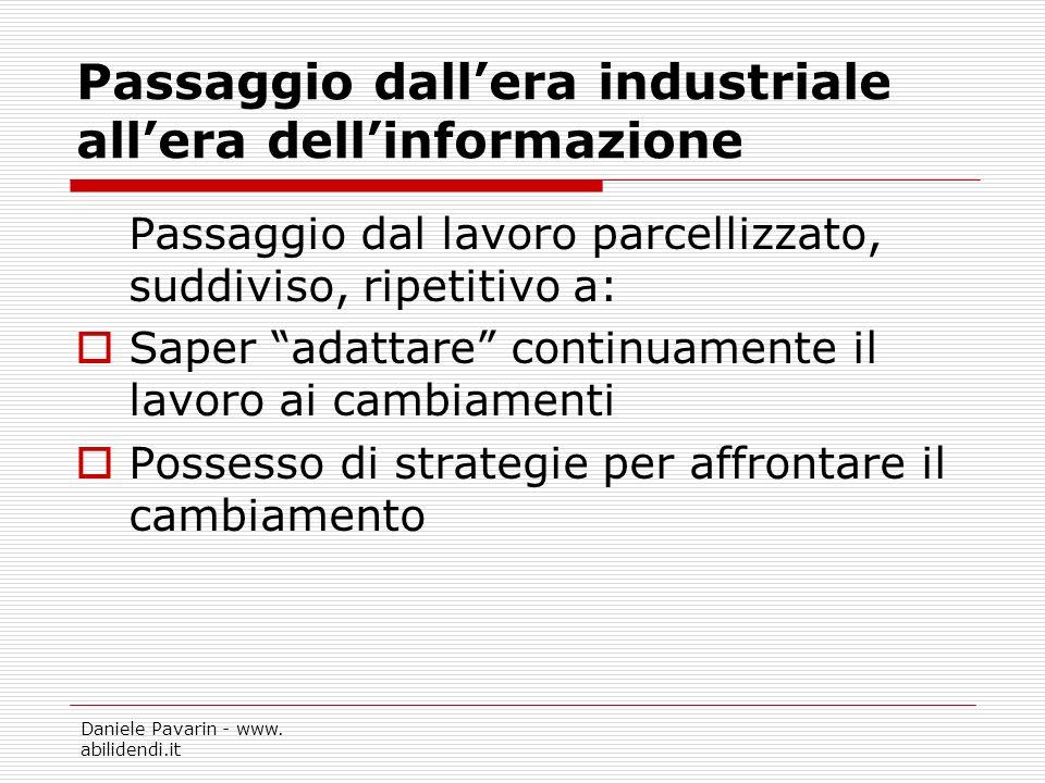 Daniele Pavarin - www. abilidendi.it Passaggio dallera industriale allera dellinformazione Passaggio dal lavoro parcellizzato, suddiviso, ripetitivo a