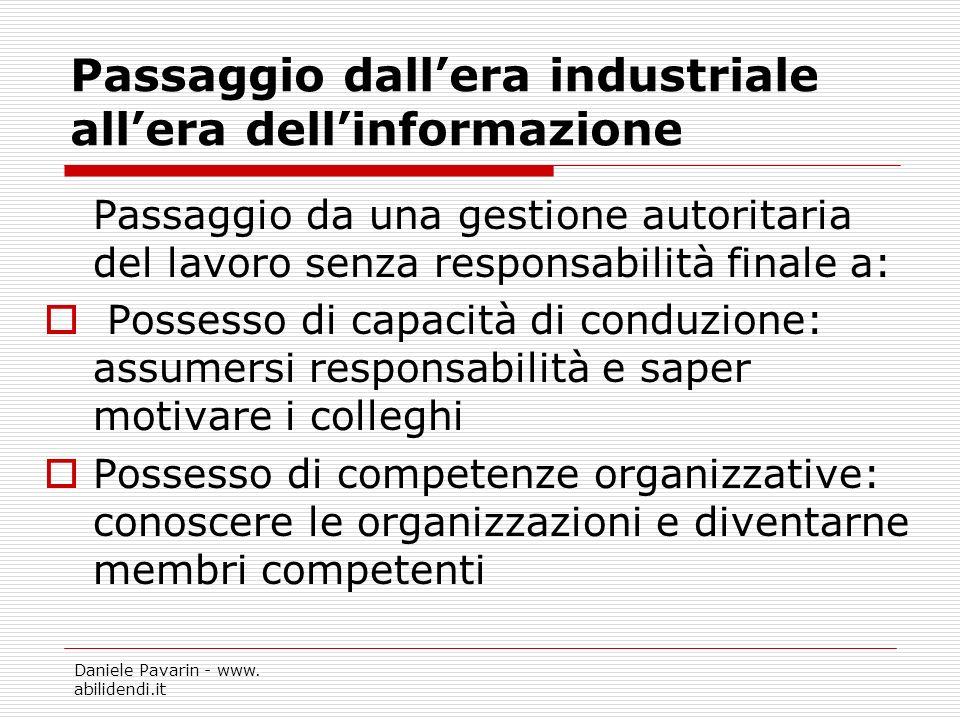 Daniele Pavarin - www. abilidendi.it Passaggio dallera industriale allera dellinformazione Passaggio da una gestione autoritaria del lavoro senza resp