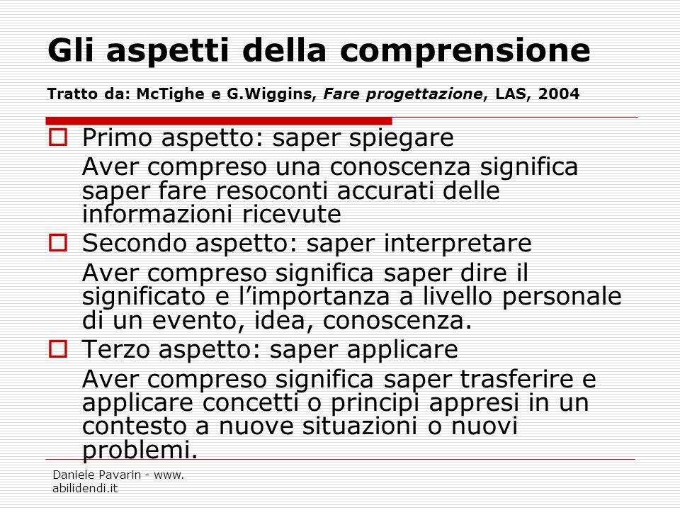 Daniele Pavarin - www. abilidendi.it Gli aspetti della comprensione Tratto da: McTighe e G.Wiggins, Fare progettazione, LAS, 2004 Primo aspetto: saper