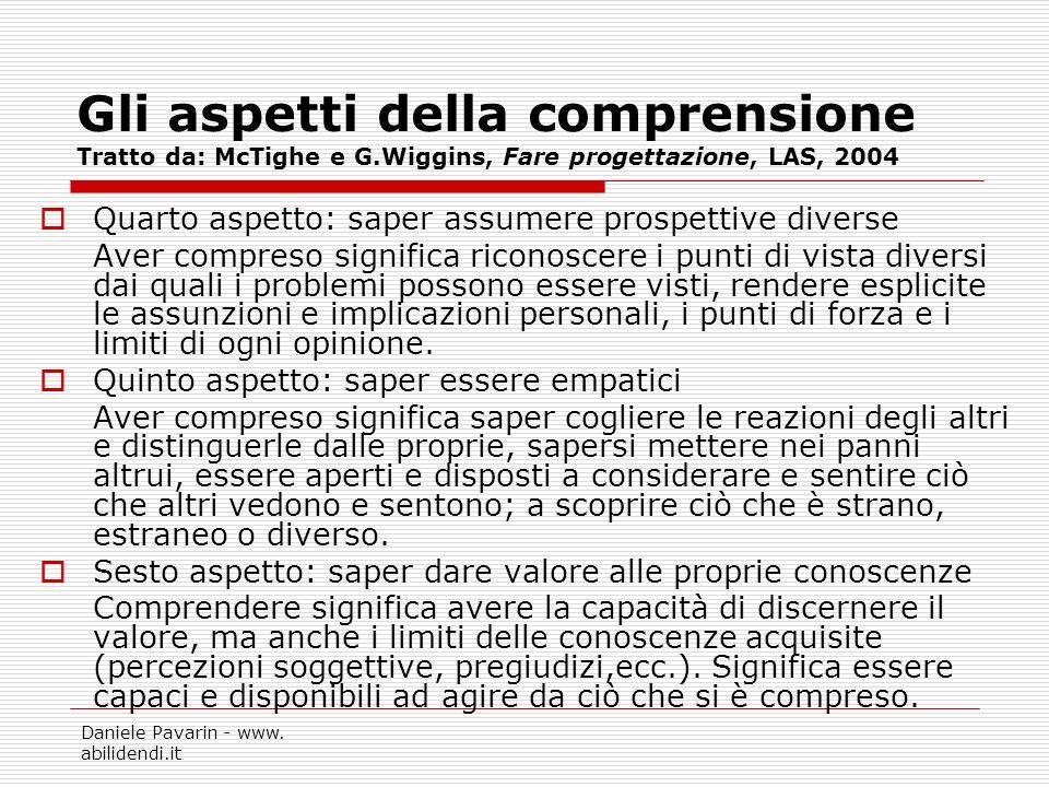 Daniele Pavarin - www. abilidendi.it Gli aspetti della comprensione Tratto da: McTighe e G.Wiggins, Fare progettazione, LAS, 2004 Quarto aspetto: sape