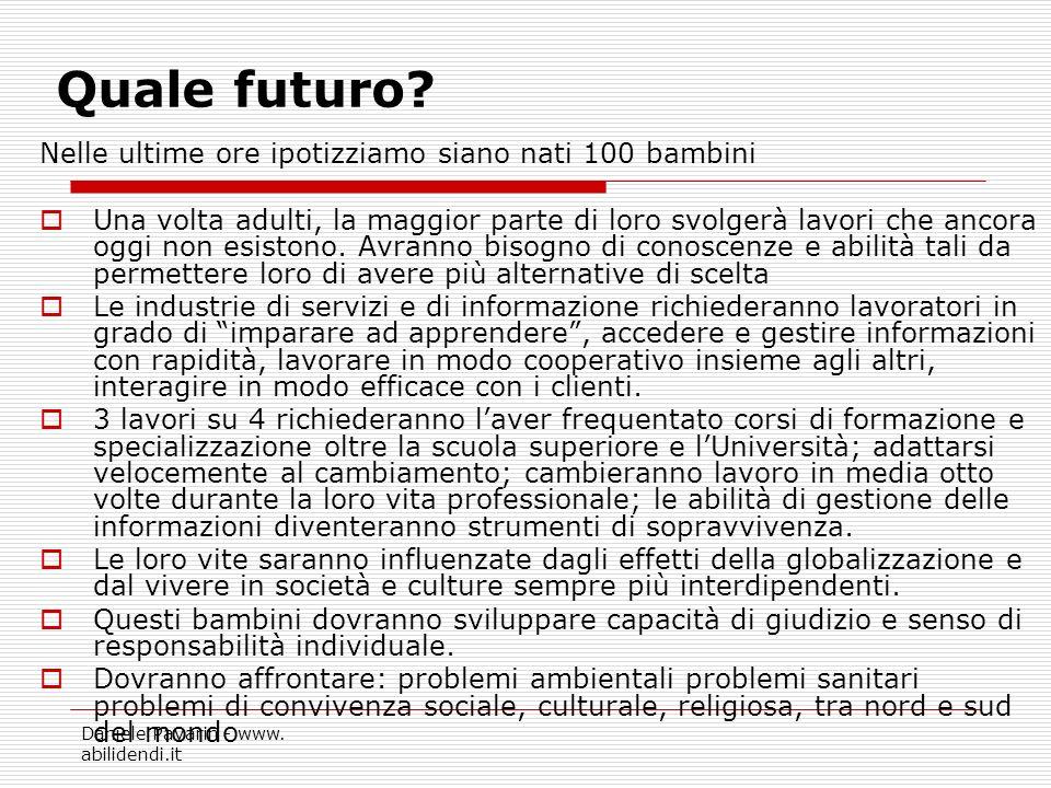 Daniele Pavarin - www. abilidendi.it Quale futuro? Nelle ultime ore ipotizziamo siano nati 100 bambini Una volta adulti, la maggior parte di loro svol