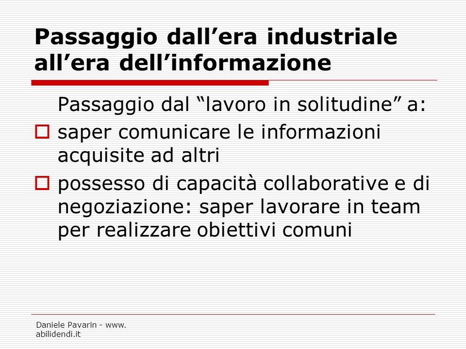 Daniele Pavarin - www. abilidendi.it Passaggio dallera industriale allera dellinformazione Passaggio dal lavoro in solitudine a: saper comunicare le i
