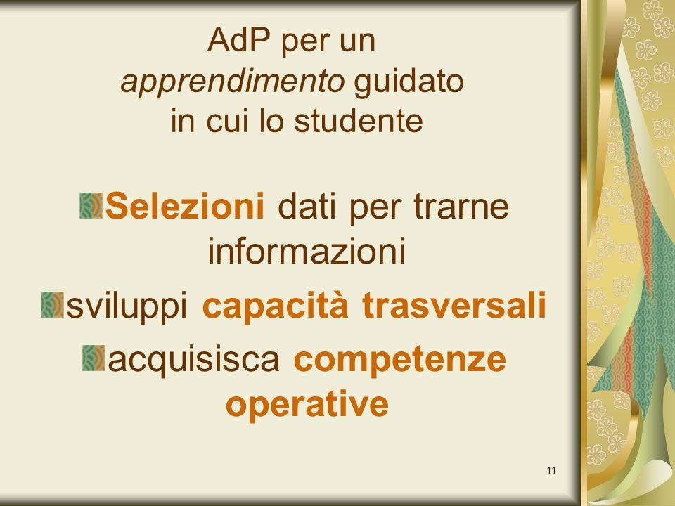 11 Selezioni dati per trarne informazioni sviluppi capacità trasversali acquisisca competenze operative AdP per un apprendimento guidato in cui lo stu