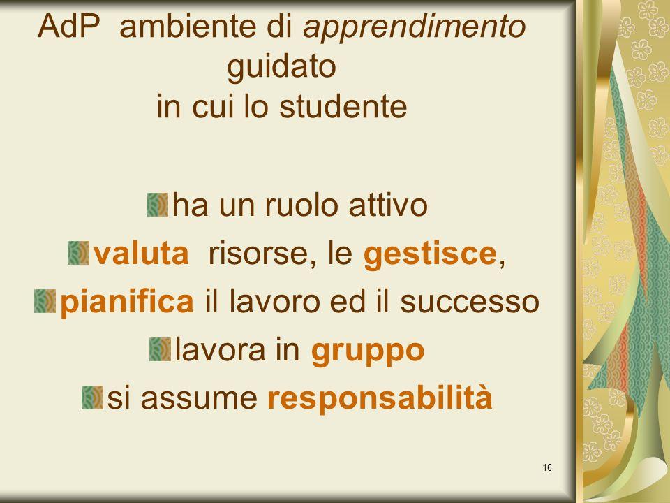 16 AdP ambiente di apprendimento guidato in cui lo studente ha un ruolo attivo valuta risorse, le gestisce, pianifica il lavoro ed il successo lavora