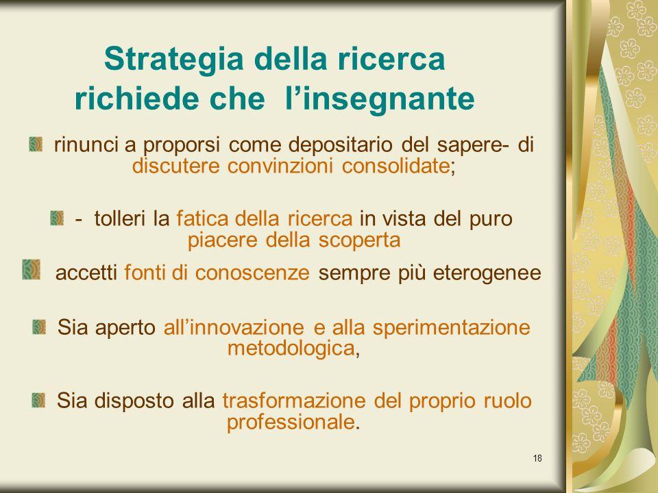 18 Strategia della ricerca richiede che linsegnante rinunci a proporsi come depositario del sapere- di discutere convinzioni consolidate; - tolleri la