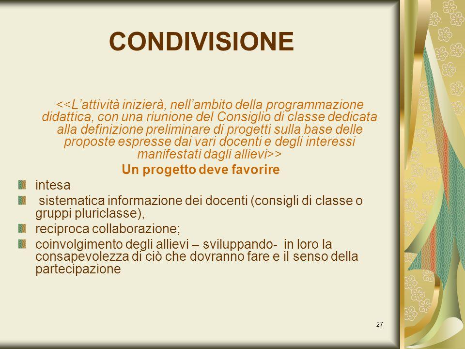 27 CONDIVISIONE > Un progetto deve favorire intesa sistematica informazione dei docenti (consigli di classe o gruppi pluriclasse), reciproca collabora