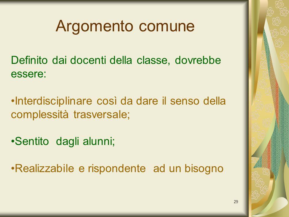 29 Argomento comune Definito dai docenti della classe, dovrebbe essere: Interdisciplinare così da dare il senso della complessità trasversale; Sentito