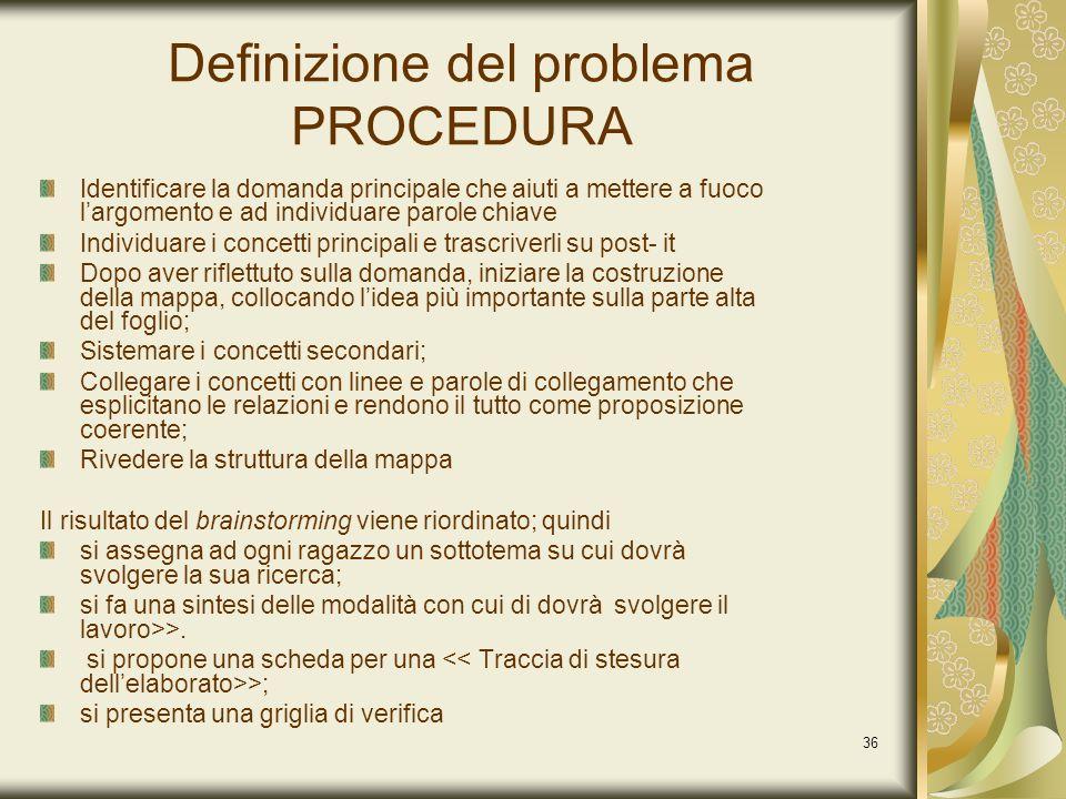 36 Definizione del problema PROCEDURA Identificare la domanda principale che aiuti a mettere a fuoco largomento e ad individuare parole chiave Individ