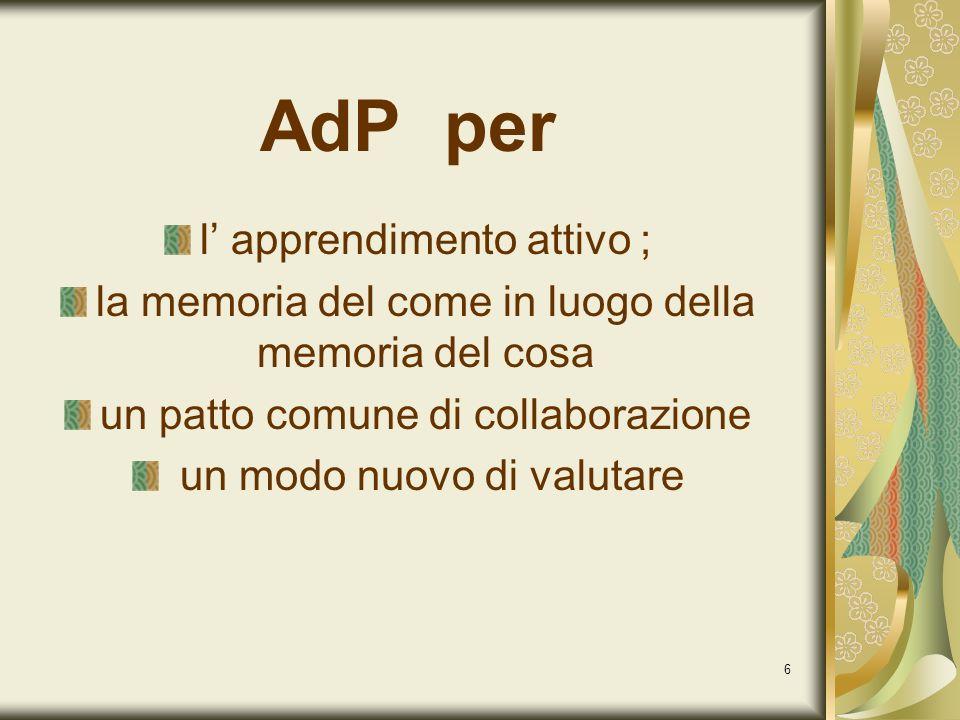 6 AdP per l apprendimento attivo ; la memoria del come in luogo della memoria del cosa un patto comune di collaborazione un modo nuovo di valutare