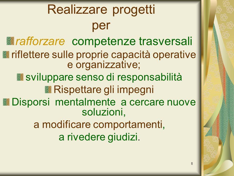 8 Realizzare progetti per rafforzare competenze trasversali riflettere sulle proprie capacità operative e organizzative; sviluppare senso di responsab
