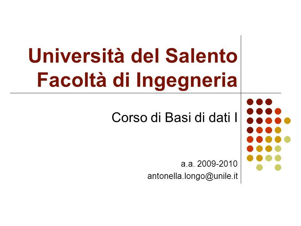 Università del Salento Facoltà di Ingegneria Corso di Basi di dati I a.a.