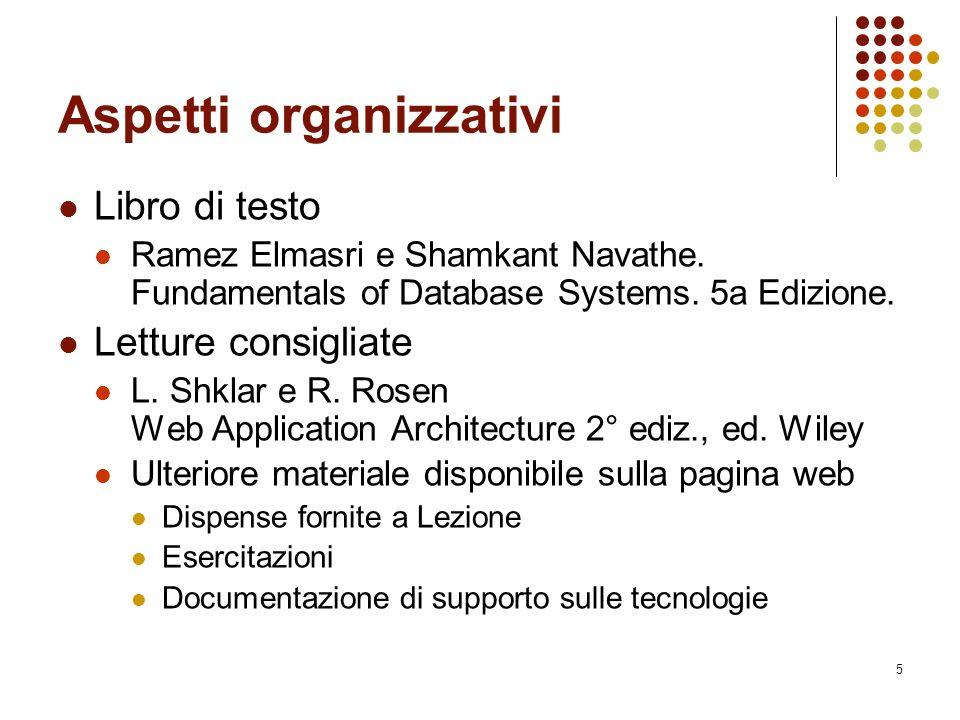 5 Aspetti organizzativi Libro di testo Ramez Elmasri e Shamkant Navathe.