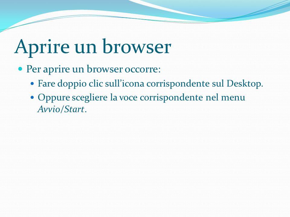 Aprire un browser Per aprire un browser occorre: Fare doppio clic sullicona corrispondente sul Desktop.