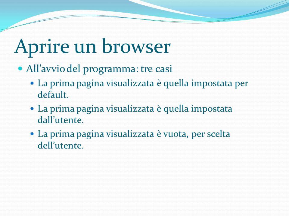 Aprire un browser Allavvio del programma: tre casi La prima pagina visualizzata è quella impostata per default.