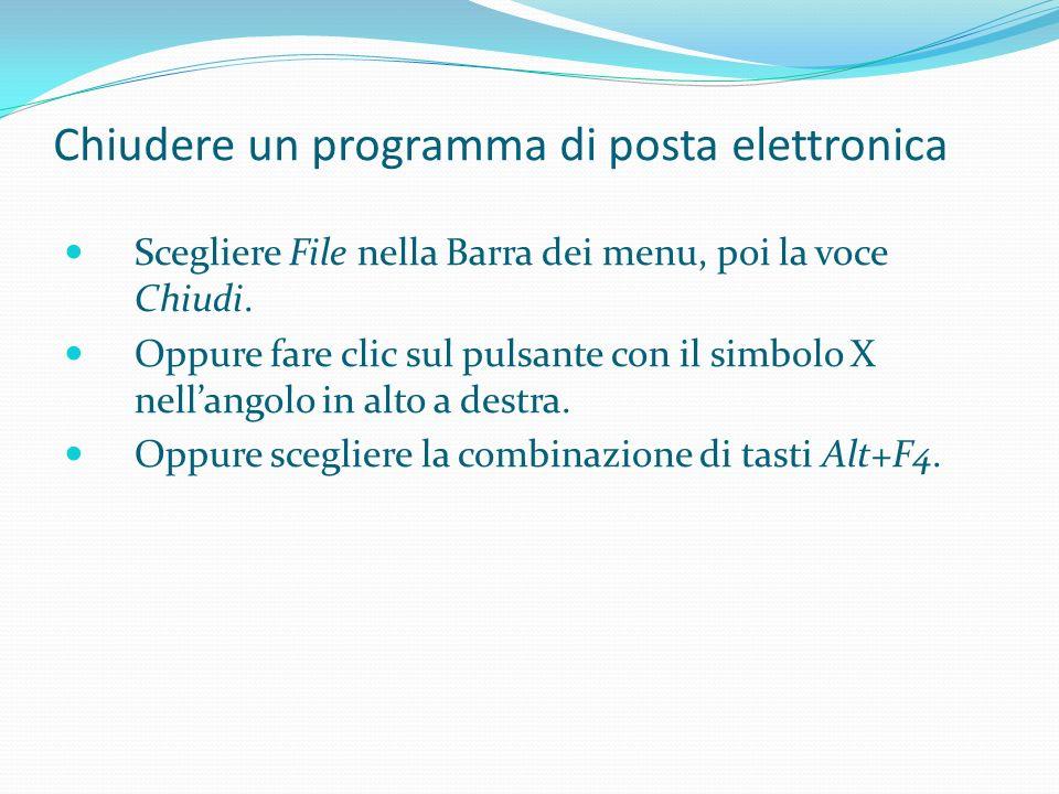 Chiudere un programma di posta elettronica Scegliere File nella Barra dei menu, poi la voce Chiudi.