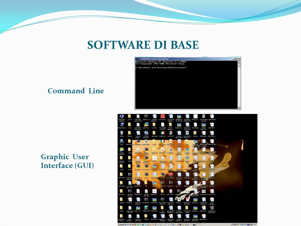 SOFTWARE DI BASE Command Line Graphic User Interface (GUI)