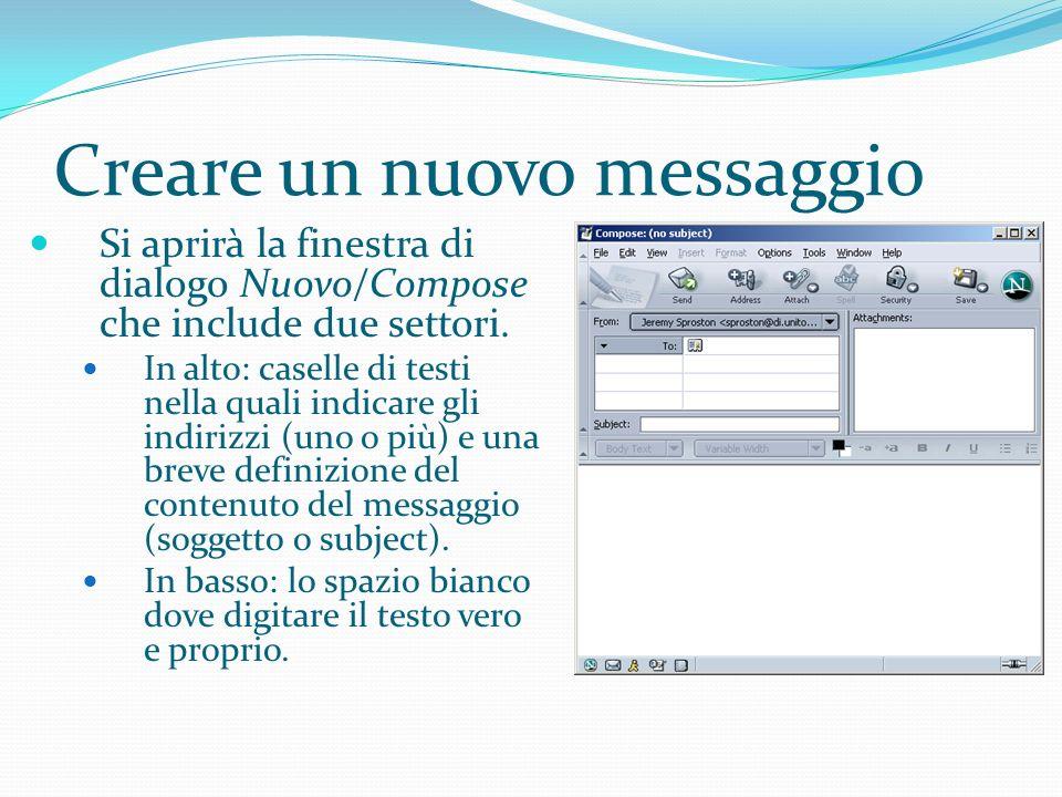 Creare un nuovo messaggio Si aprirà la finestra di dialogo Nuovo/Compose che include due settori.