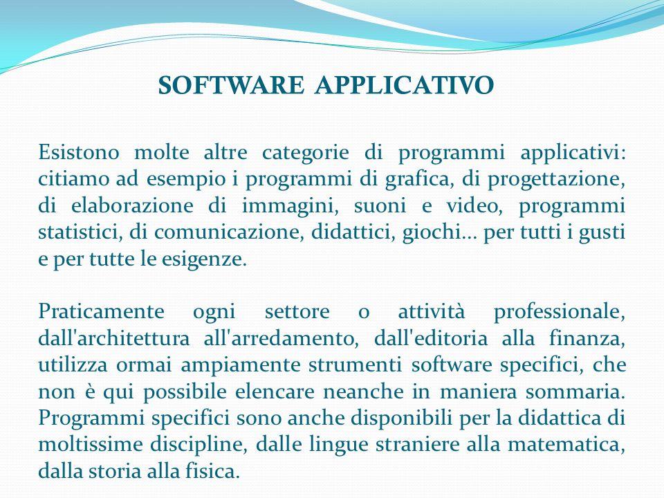 SOFTWARE APPLICATIVO Esistono molte altre categorie di programmi applicativi: citiamo ad esempio i programmi di grafica, di progettazione, di elaborazione di immagini, suoni e video, programmi statistici, di comunicazione, didattici, giochi...