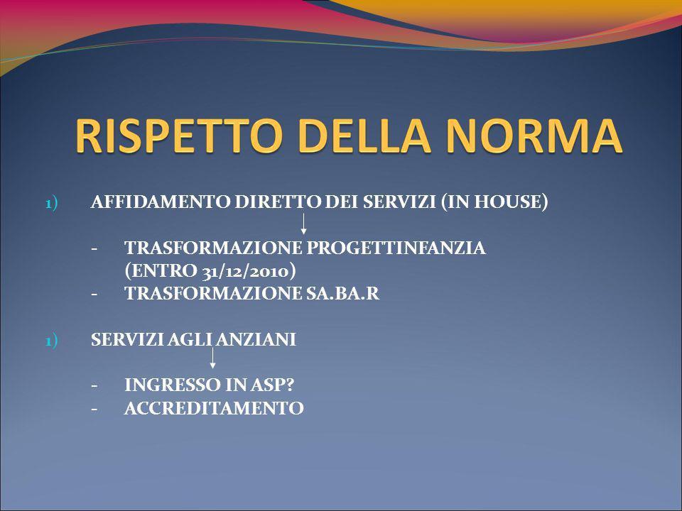 1) AFFIDAMENTO DIRETTO DEI SERVIZI (IN HOUSE) - TRASFORMAZIONE PROGETTINFANZIA (ENTRO 31/12/2010) - TRASFORMAZIONE SA.BA.R 1) SERVIZI AGLI ANZIANI -INGRESSO IN ASP.