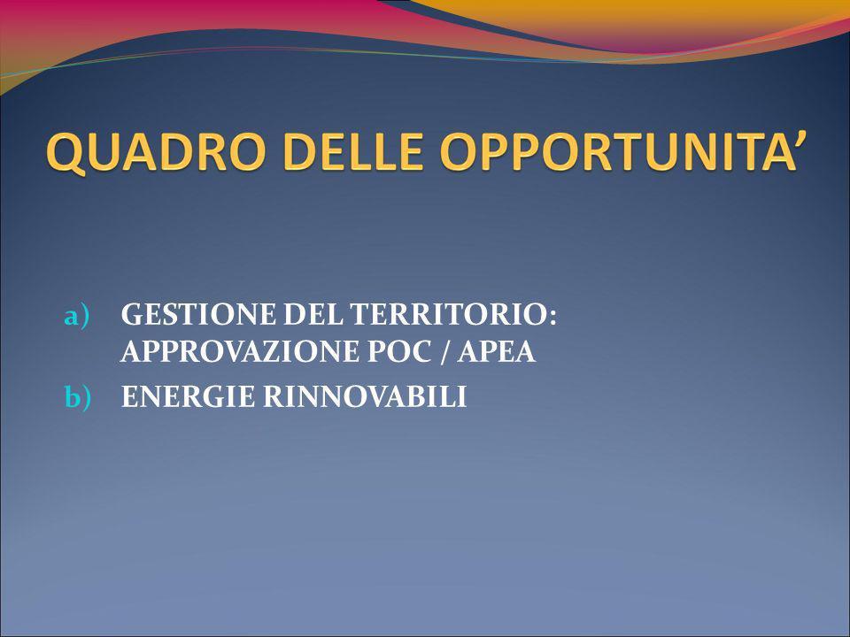 a) GESTIONE DEL TERRITORIO: APPROVAZIONE POC / APEA b) ENERGIE RINNOVABILI