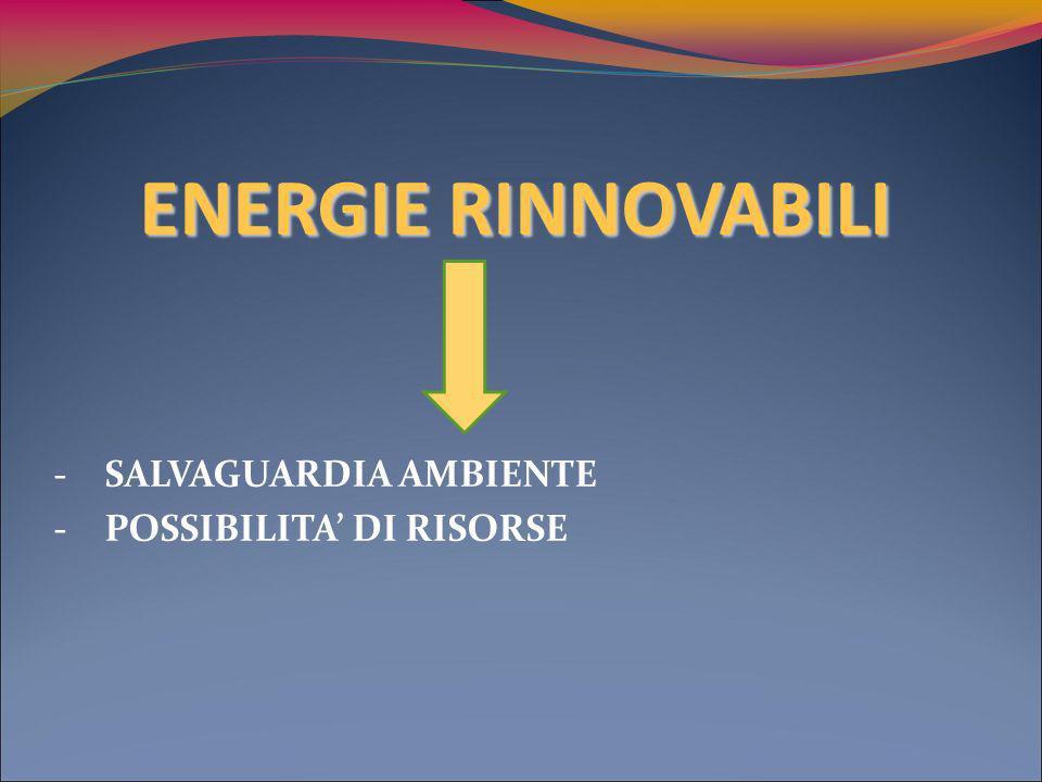 ENERGIE RINNOVABILI -SALVAGUARDIA AMBIENTE -POSSIBILITA DI RISORSE