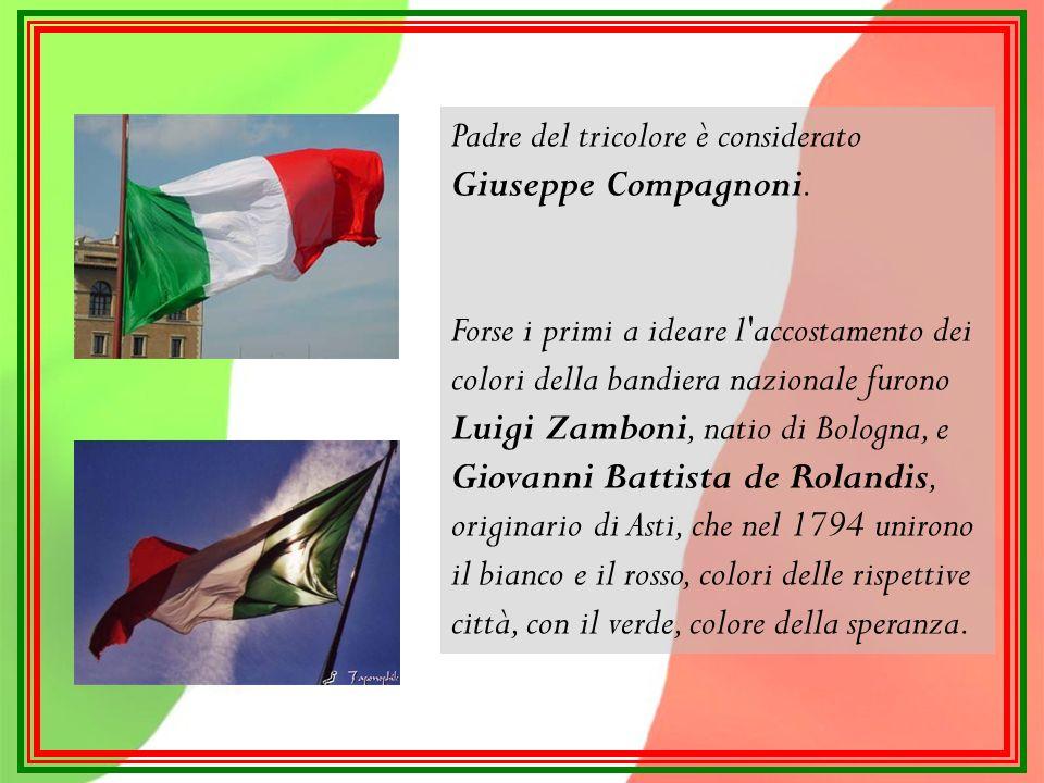 Il verde, il bianco e il rosso erano presenti nelle bandiere dei più importanti Stati Italiani: Il verde simboleggia la speranza e la macchia mediterranea, fondamentale elemento del paesaggio italiano; Il bianco le Alpi, famose per i loro ghiacciai; Il rosso ricorda il sangue sparso per l Unità d Italia; Questi tre colori erano già noti ai tempi di Dante Alighieri; si ritrovano infatti nella sua Commedia, come simboli delle tre virtù teologali: verde-speranza, bianco-fede, rosso-carità.