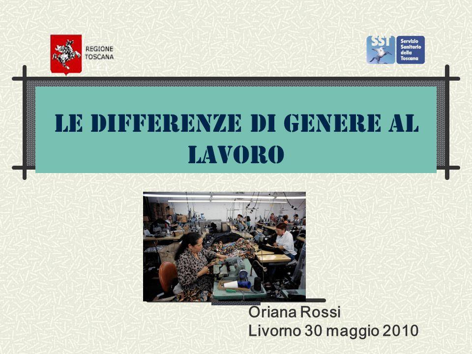 Mansioni più frequenti in Toscana più impiegate (49,8%) che operaie (30%) Pulizie (86%) Confezioni (91,5%), pelle e cuoio (38,6%) calzature (61,9%) Terziario sanità pubblica (67,1%).