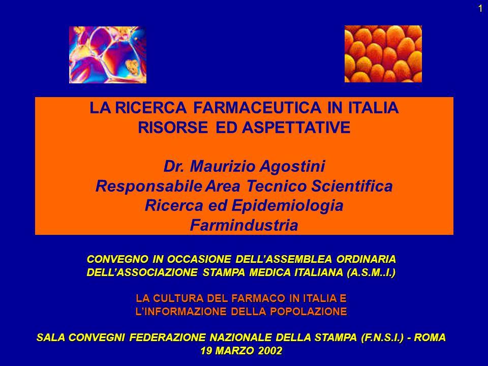 1 LA RICERCA FARMACEUTICA IN ITALIA RISORSE ED ASPETTATIVE Dr. Maurizio Agostini Responsabile Area Tecnico Scientifica Ricerca ed Epidemiologia Farmin