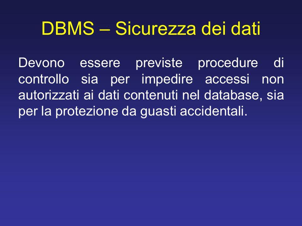 DBMS – Sicurezza dei dati Devono essere previste procedure di controllo sia per impedire accessi non autorizzati ai dati contenuti nel database, sia p