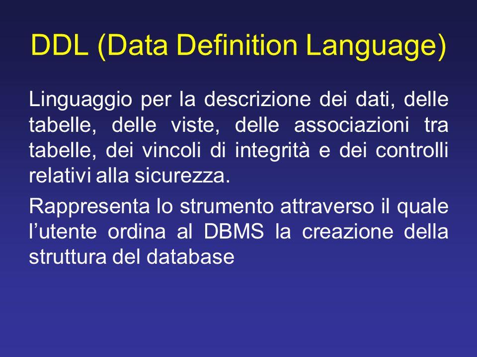 DDL (Data Definition Language) Linguaggio per la descrizione dei dati, delle tabelle, delle viste, delle associazioni tra tabelle, dei vincoli di inte