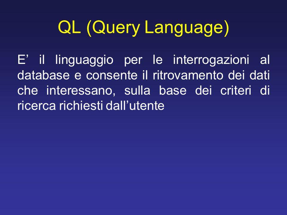 QL (Query Language) E il linguaggio per le interrogazioni al database e consente il ritrovamento dei dati che interessano, sulla base dei criteri di r
