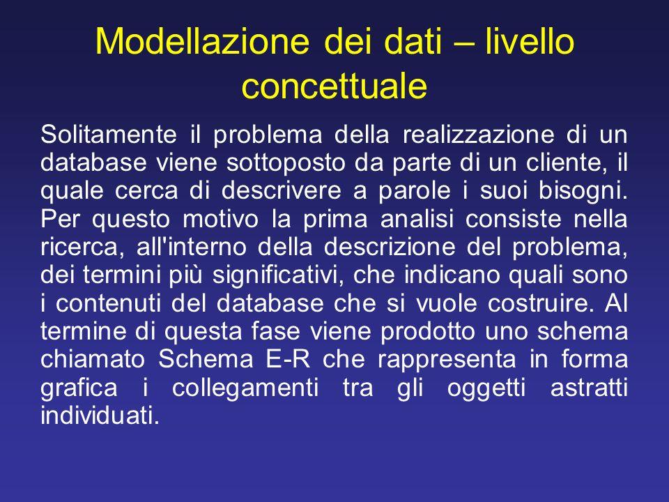 Modellazione dei dati – livello concettuale Solitamente il problema della realizzazione di un database viene sottoposto da parte di un cliente, il qua