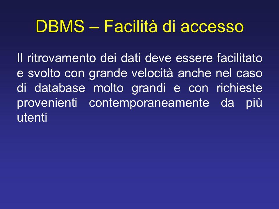 DBMS – Facilità di accesso Il ritrovamento dei dati deve essere facilitato e svolto con grande velocità anche nel caso di database molto grandi e con