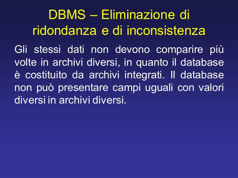 DBMS – Eliminazione di ridondanza e di inconsistenza Gli stessi dati non devono comparire più volte in archivi diversi, in quanto il database è costit