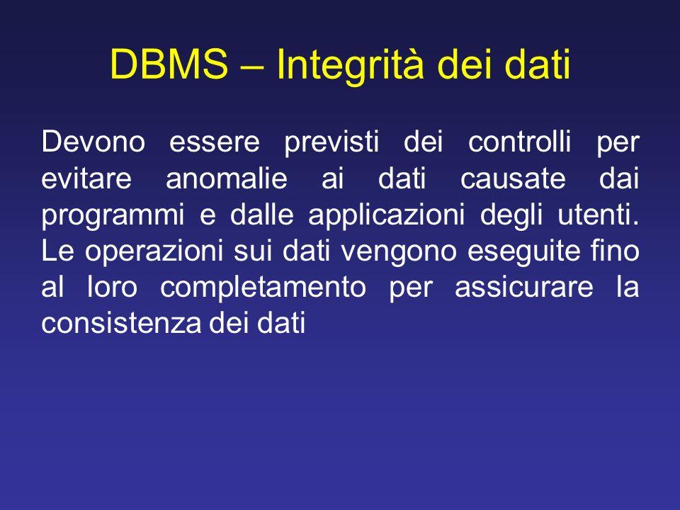 DBMS – Integrità dei dati Devono essere previsti dei controlli per evitare anomalie ai dati causate dai programmi e dalle applicazioni degli utenti. L