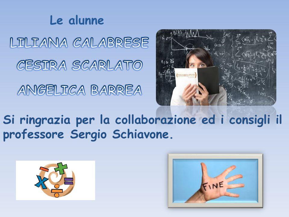 Le alunne Si ringrazia per la collaborazione ed i consigli il professore Sergio Schiavone.