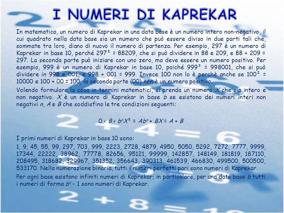 In matematica, un numero di Kaprekar in una data base è un numero intero non-negativo, il cui quadrato nella data base sia un numero che può essere di