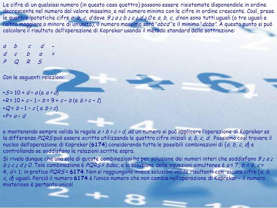 Le cifre di un qualsiasi numero (in questo caso quattro) possono essere risistemate disponendole in ordine decrescente nel numero dal valore massimo,