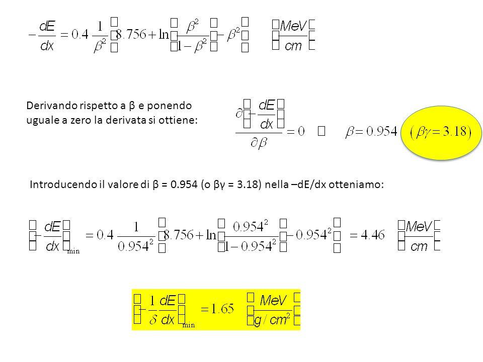 Introducendo il valore di β = 0.954 (o βγ = 3.18) nella –dE/dx otteniamo: Derivando rispetto a β e ponendo uguale a zero la derivata si ottiene:
