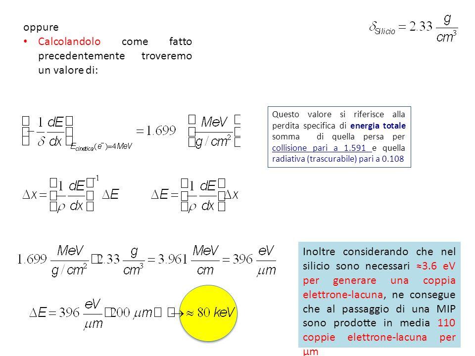 Questo valore si riferisce alla perdita specifica di energia totale somma di quella persa per collisione pari a 1.591 e quella radiativa (trascurabile