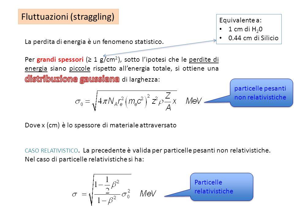 Fluttuazioni (straggling) Dove x (cm) è lo spessore di materiale attraversato CASO RELATIVISTICO. La precedente è valida per particelle pesanti non re