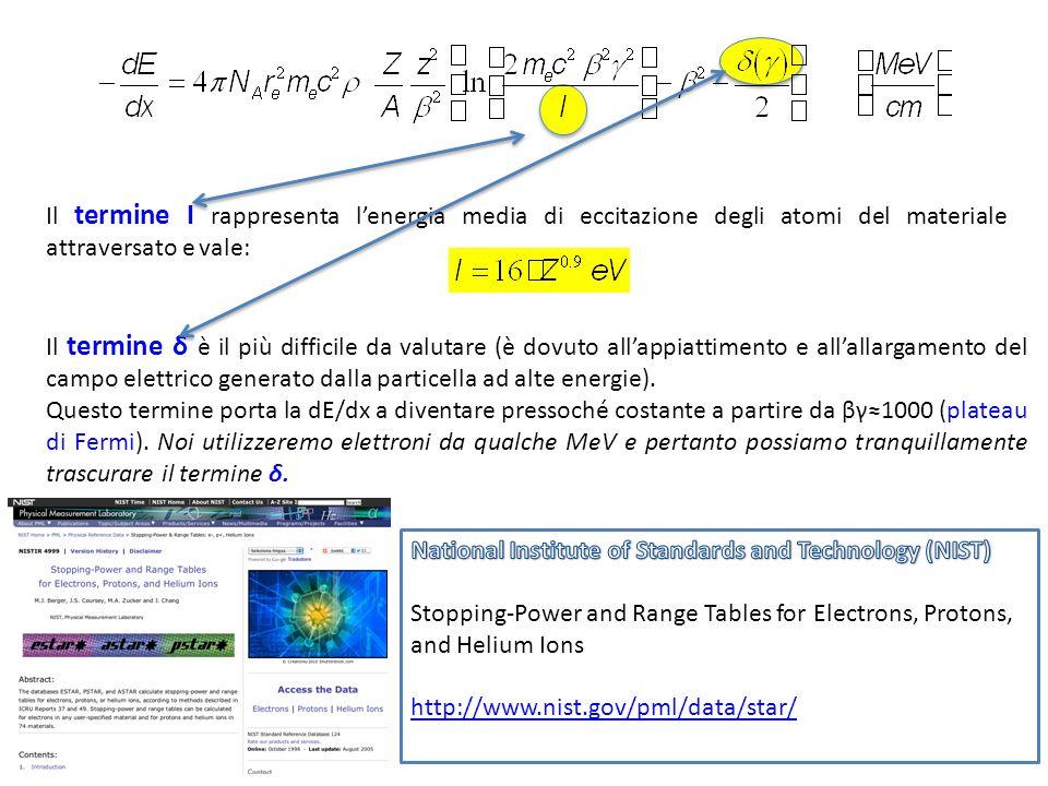 Il termine I rappresenta lenergia media di eccitazione degli atomi del materiale attraversato e vale: Il termine δ è il più difficile da valutare (è d