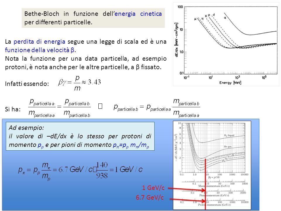 La perdita di energia segue una legge di scala ed è una funzione della velocità β. Nota la funzione per una data particella, ad esempio protoni, è not