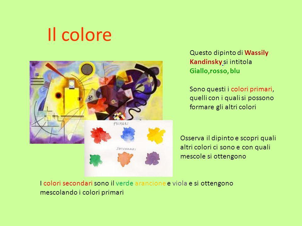 Il colore Questo dipinto di Wassily Kandinsky si intitola Giallo,rosso, blu Sono questi i colori primari, quelli con i quali si possono formare gli al