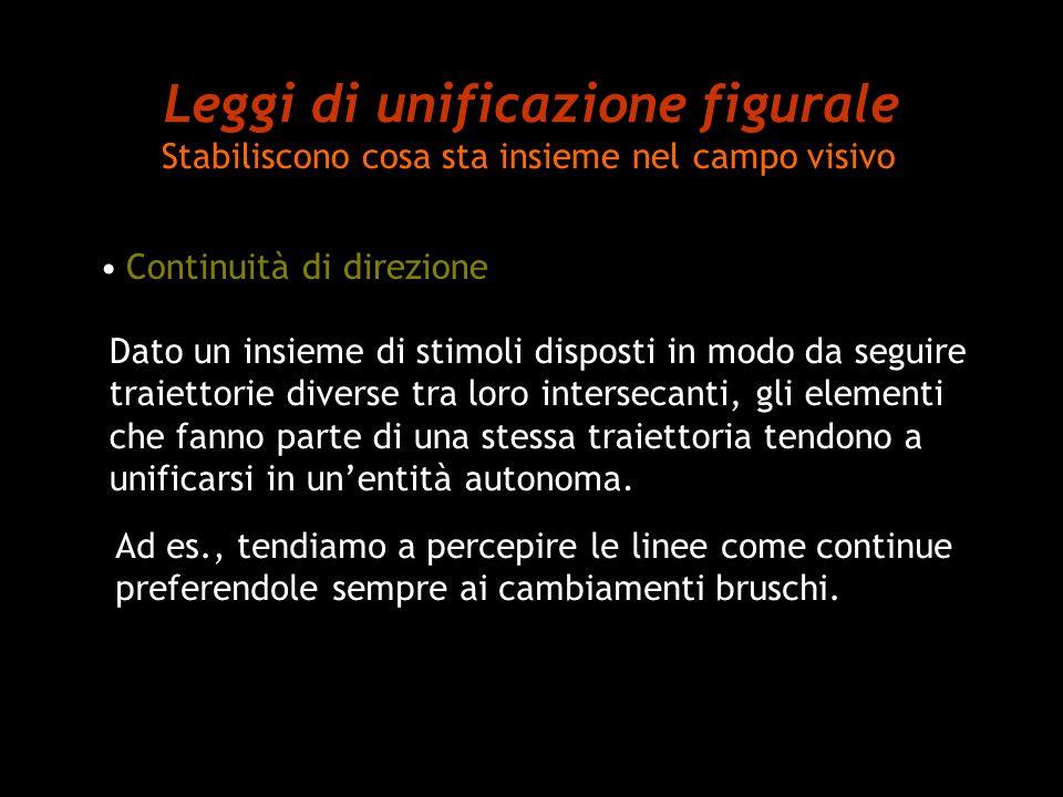 Leggi di unificazione figurale Stabiliscono cosa sta insieme nel campo visivo Continuità di direzione Dato un insieme di stimoli disposti in modo da s