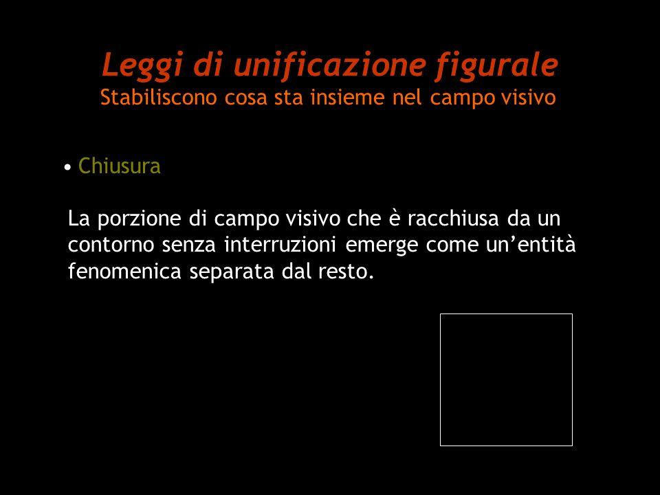 Leggi di unificazione figurale Stabiliscono cosa sta insieme nel campo visivo Chiusura La porzione di campo visivo che è racchiusa da un contorno senz