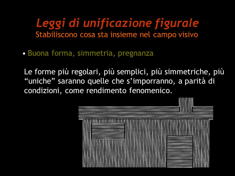Leggi di unificazione figurale Stabiliscono cosa sta insieme nel campo visivo Buona forma, simmetria, pregnanza Le forme più regolari, più semplici, p