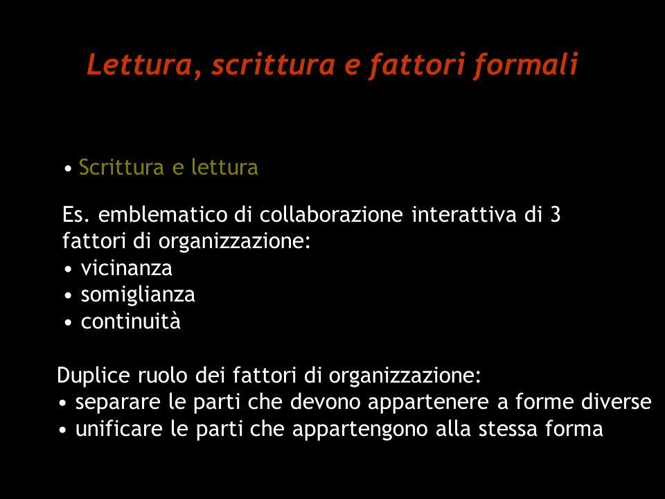 Lettura, scrittura e fattori formali Scrittura e lettura Es. emblematico di collaborazione interattiva di 3 fattori di organizzazione: vicinanza somig