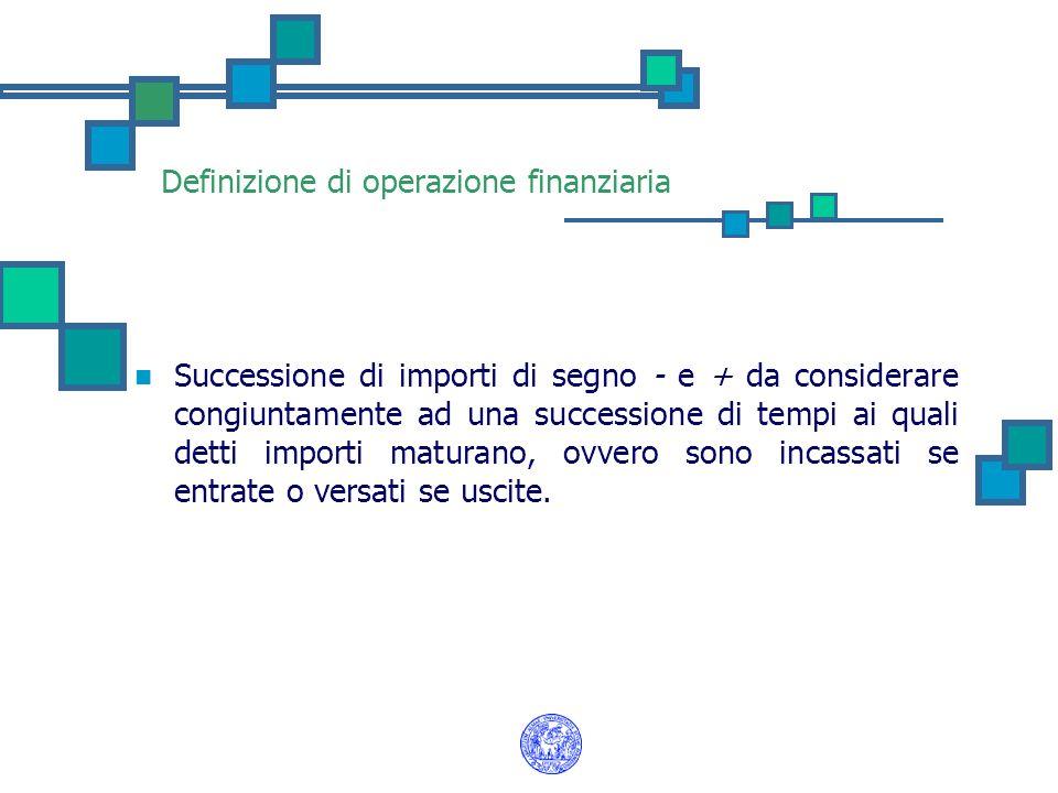 Definizione di operazione finanziaria Successione di importi di segno - e + da considerare congiuntamente ad una successione di tempi ai quali detti i